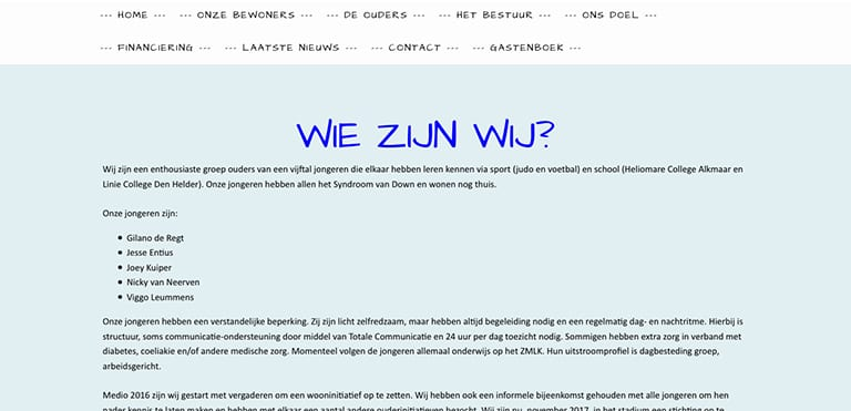 Screenshot van de oude website